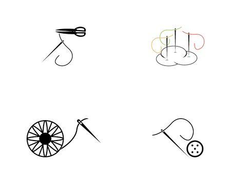 Abstract yarn and needle icon vector illustration Ilustração