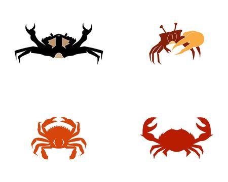 Crab silhouettes on the white background icons app