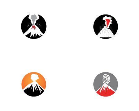Volcano eruption logo  vector illustration on white background stock illustration