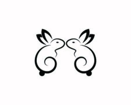 Rabbit template vector icon illustration design Stock Illustratie