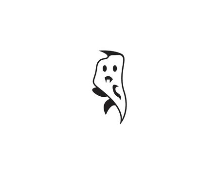 Ghost cartoon icon and symbol logo template