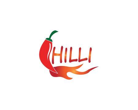 Red hot natural chili icon Template vector Illustration Ilustração