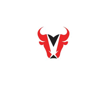 Bull head icon and symbol vector template with star on white backround