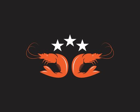 Shrimp icon and symbol vector template illustration