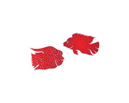 Red Texas Chiclid fish logo vector illustration Vettoriali