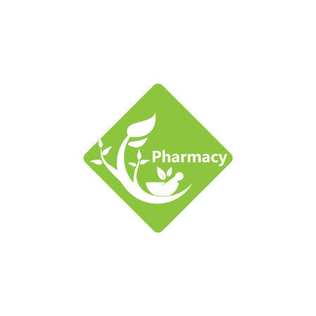 Herbal pharmacy icon and symbol template Vettoriali