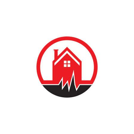 Earthquake disaster logo vector template