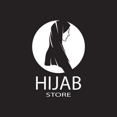 Woman hijab stylized logo vector illustration