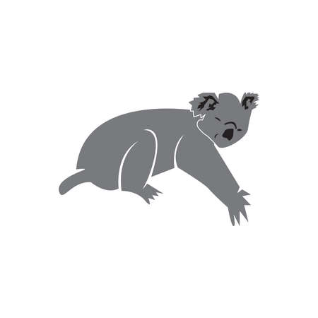 Koala cartoon silhouette illustration