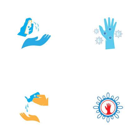 Hand people use hand sanitizer logo