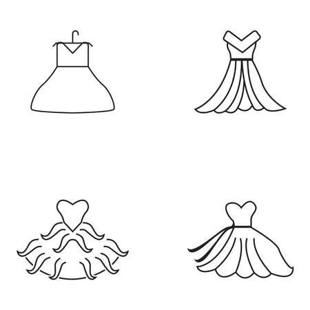 Dress fashion line logo vector template