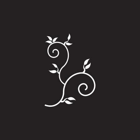 Black leaf ornament icon and symbol vector illustration  イラスト・ベクター素材