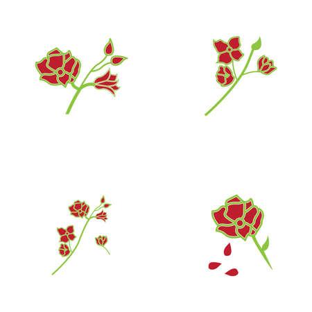 Rose flower logo template vector icon illustration