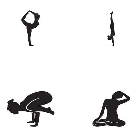 Striking yoga people silhouette logo vector illustration