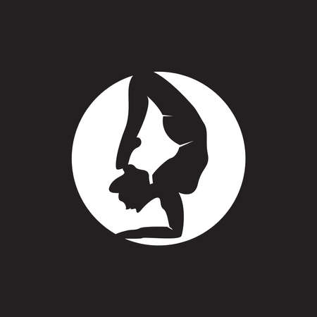 Striking yoga people silhouette logo vector illustration