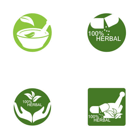 Herbal pharmacy icon and symbol template 矢量图像