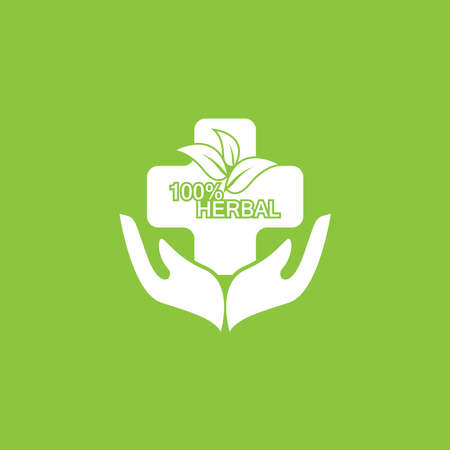 Herbal pharmacy icon and symbol template Ilustracja