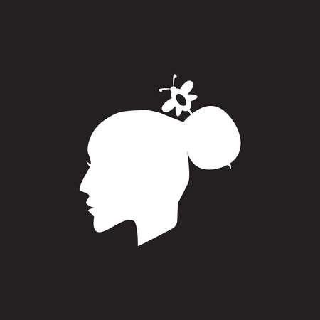 woman hair style icon and symbol silhouette vector Ilustração