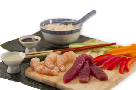 Sushi ingredients, soy sauce, wasabi, isolated on white photo