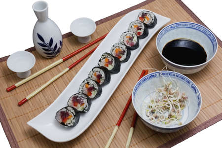 Sushi served with soya sprouts and sake Stock Photo - 12314195