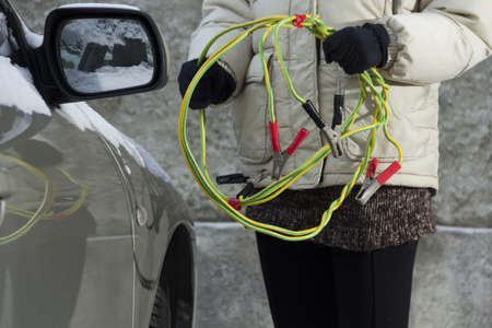 Preparing car battery charging cables