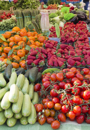 Beautiful organic vegetable and fruit on sunny market photo