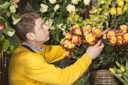 flower arrangement: Male Florist in flower shop arranging and presenting his plants on display