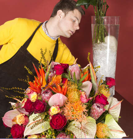 Male Florist in flower market  arranging and presenting his plants on display Stock Photo - 13197434
