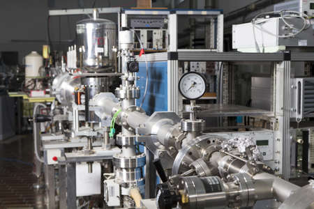 View of important electronic and mechanical parts of ION Accelerator, CNC machined parts Stock Photo - 13340600