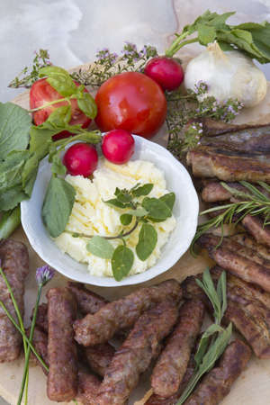 American Balkan BBQ served with organic vegetable photo
