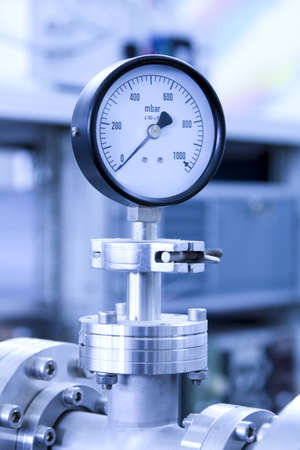 Manometer precise instrument in laboratory, close up Stock Photo