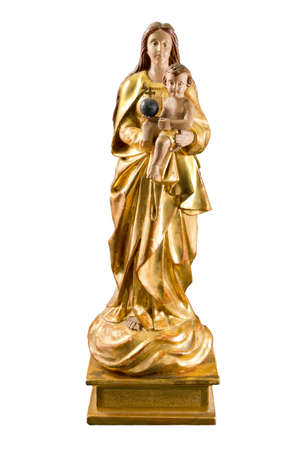 Mary with Jesus, very old, gold, antique statue, Stock Photo - 13859289