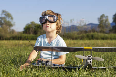 The little villain boy and new RC plane