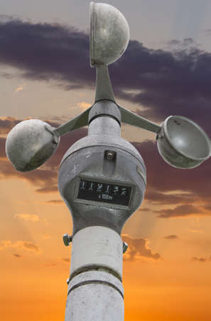 anemometer: Anemometer-wind speedometer for meteorology, weather station for measuring wind velocity closeup