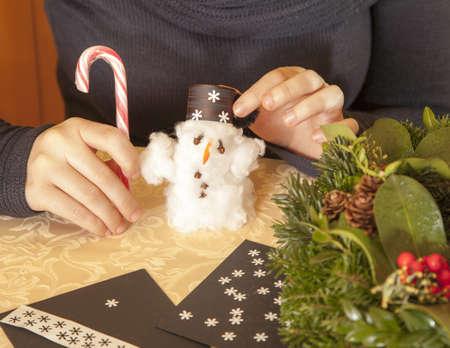Making cotton-wool snowman-selective focus on snowman photo