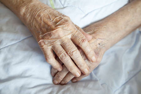 Series of photos  Hands of 92 years old lady - close up selective focus Stock Photo - 18496462