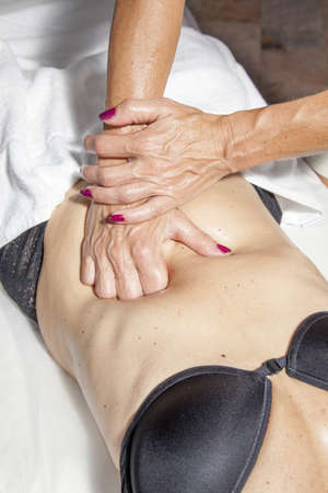 Spa treatment, beauty and anti cellulite massage, high resolution photos of complete process  photo