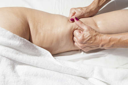 Spa treatment, beauty and anti cellulite massage, high resolution photos of complete process  Stock Photo