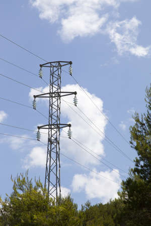 Electric power tower against blue cloudy sky, excellent visible high voltage isolators  space for text  photo
