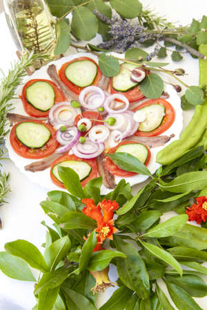 rakia: Sardine fillets on a white ceramic plate, served with various organic vegetables and decorated with Mediterranean herbs and Travarica rakia,  Stock Photo