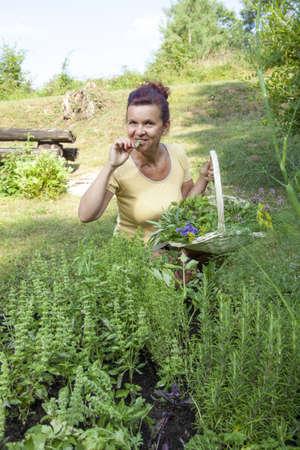 Cute female gardener surrounded with fresh organic herbs posing in beautiful garden
