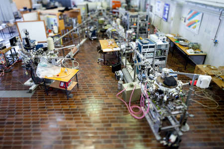 Interior of nuclear laboratory with important electronic devices , tilt shift lens, selective focus photo