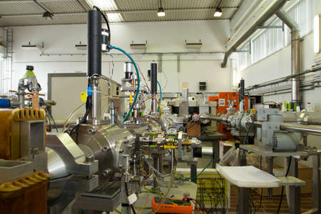 Interior of nuclear laboratory with important electronic devices , tilt shift lens, selective focus Stock Photo - 22859771