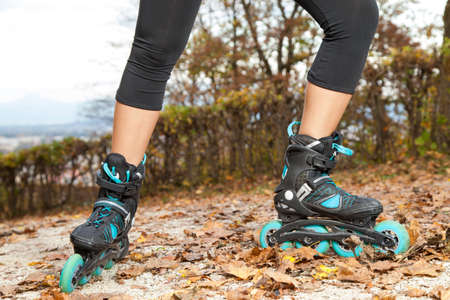 Feet of off road roller skater with in-line roller skates Stock Photo - 23181502
