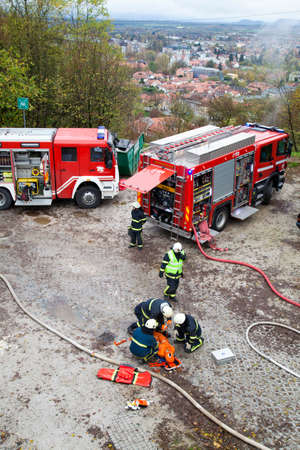 Ljubljana, Slovenia, 10 11 2013, Fire departments and emergency response teams will conduct disaster preparedness drills