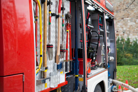 Rescue equipment and tool of fire-fighting truck, close-up