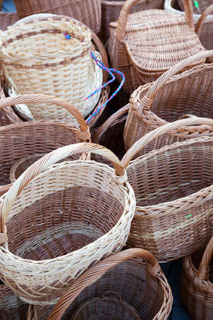 handimade: Handmade traditional straw wicker baskets on market
