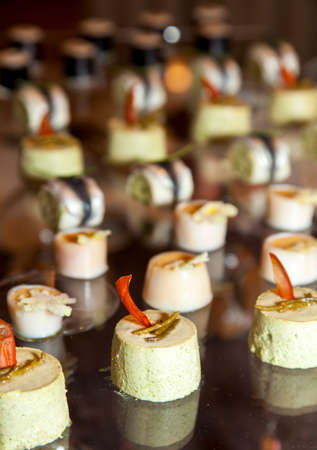 Close up of tasty Fruits of the sea canapes - selective focus  photo
