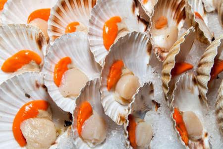 Fresh scallops on sunny Mediterranean market stall, closeup Standard-Bild