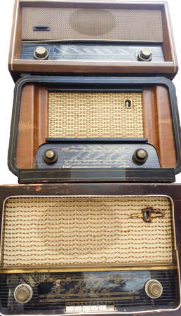 Vintage radio tuner receivers , against white photo